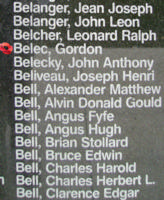 Memorial– Sergeant Gordon Belec is also commemorated on the Bomber Command Memorial Wall in Nanton, AB … photo courtesy of Marg Liessens