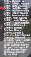 Memorial– Flight Sergeant John Richard Griffin is also commemorated on the Bomber Command Memorial Wall in Nanton, AB … photo courtesy of Marg Liessens
