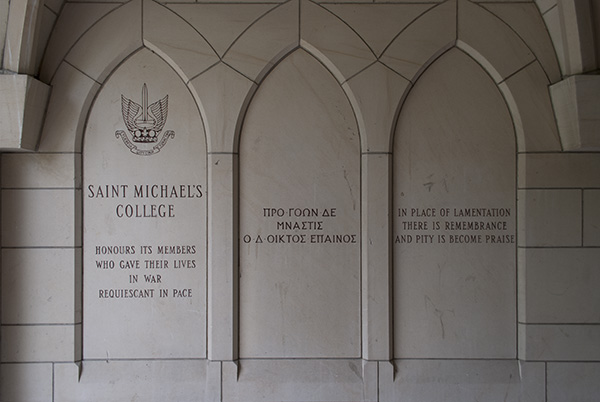 St. Michael's College Memorial Intro– Inscriptions in the stone walls of the slype between More and Fisher Houses on the University of Toronto campus commemorate the men of St. Michael's College (University of Toronto) and St. Michael's College School  (a private Catholic high school) who died in the First and Second World Wars and the Korean conflict.