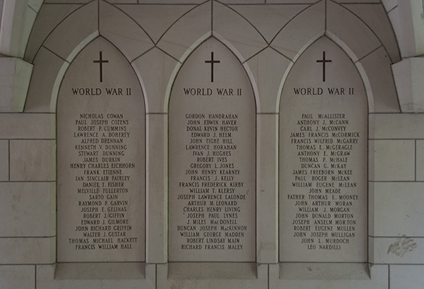 Detail of St. Michael's College Memorial– Showing some of the Second World War names including that of John Richard Griffin.