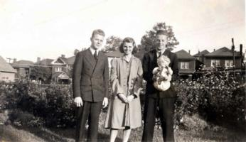 Photo– L-R Bill, sister Kay and brother Jack. Baby Jack Wickett. Submitted for the project, Operation Picture Me
