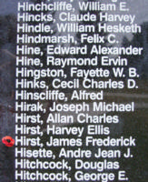 Memorial– Flight Sergeant James Frederick Hirst is also commemorated on the Bomber Command Memorial Wall in Nanton, AB … photo courtesy of Marg Liessens