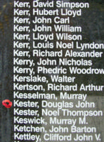 Memorial– Sergeant Douglas John Kester is also commemorated on the Bomber Command Memorial Wall in Nanton, AB … photo courtesy of Marg Liessens