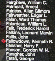 Memorial– Flight Sergeant Kenneth Ross Fallowdown is also commemorated on the Bomber Command Memorial Wall in Nanton, AB … photo courtesy of Marg Liessens