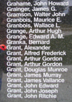 Memorial– Pilot Officer Alexander Grant is also commemorated on the Bomber Command Memorial Wall in Nanton, AB … photo courtesy of Marg Liessens