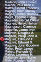 Memorial– Sergeant Edmund Henry Duggan Maguire is also commemorated on the Bomber Command Memorial Wall in Nanton, AB … photo courtesy of Marg Liessens