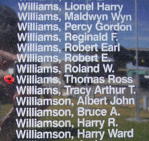 Memorial– Pilot Officer Thomas Ross Williams is also commemorated on the Bomber Command Memorial Wall in Nanton, AB … photo courtesy of Marg Liessens
