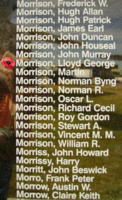 Memorial– Pilot Officer Lloyd George Morrison is also commemorated on the Bomber Command Memorial Wall in Nanton, AB … photo courtesy of Marg Liessens
