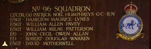 Inscription– Flight Sergeant W Op David Motherwell is also commemorated at St George's Royal Air Force Chapel of Remembrance - Biggin Hill ... Name on the panels that surround the Altar ... Photo courtesy of Marg Liessens