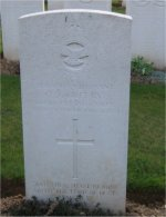 Gravemarker– The grave of 2/Lt. C. J. Creery, taken in Heilly Station Cemetery in France.  April 2006.