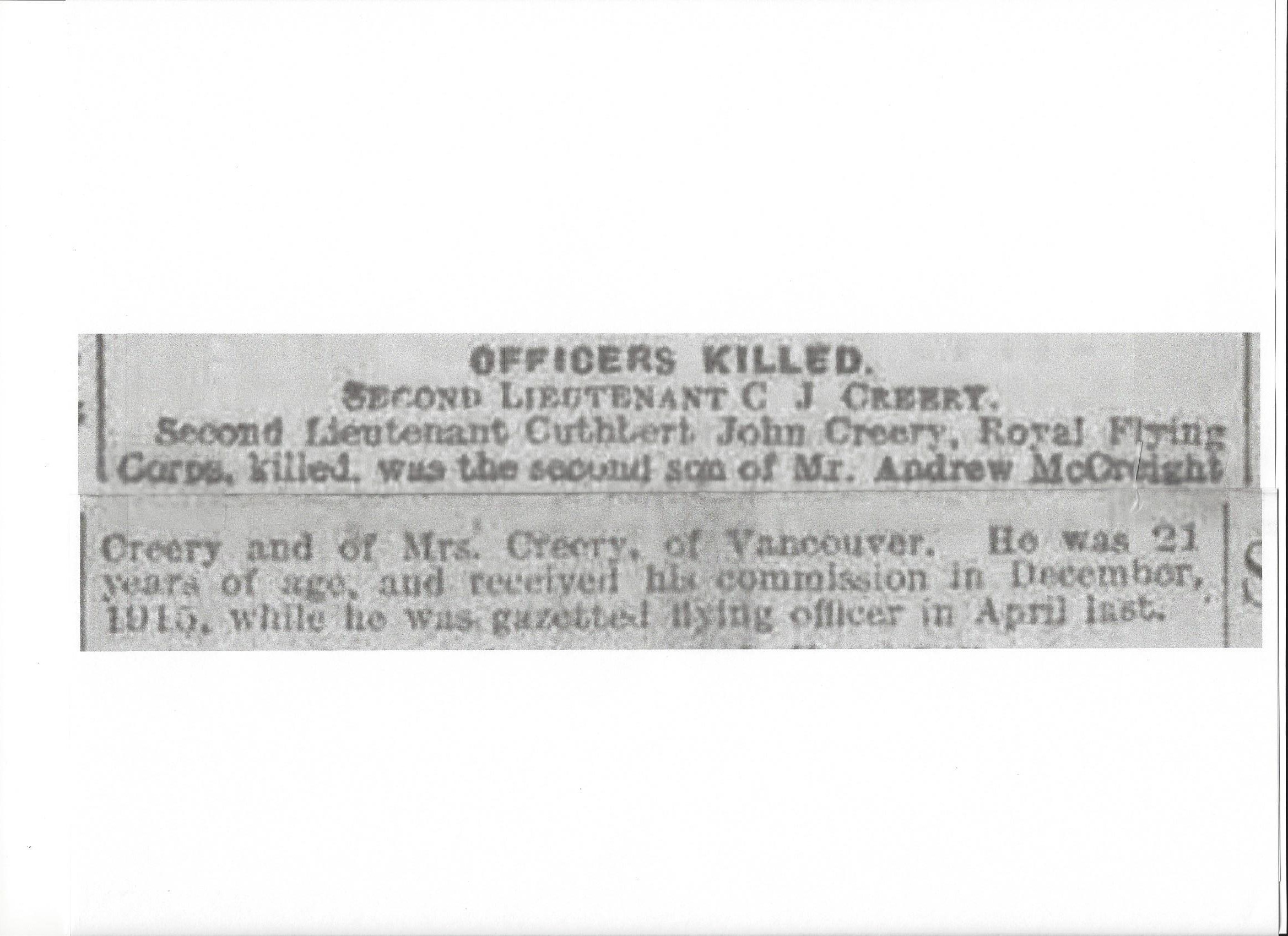 Newspaper Clipping– Newspaper clipping from Daily Telegraph of November 20, 1916. Image taken from web address of http://www.telegraph.co.uk/news/ww1-archive/12213828/Daily-Telegraph-November-20-1916.html