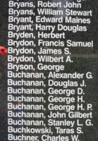 Memorial– Flying Officer James Stenhouse Brydon is also commemorated on the Bomber Command Memorial Wall in Nanton, AB … photo courtesy of Marg Liessens