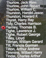 Memorial– Pilot Officer Thomas Bernard Tierney is commemorated on the Bomber Command Memorial Wall in Nanton, AB … photo courtesy of Marg Liessens
