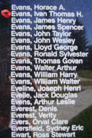Memorial– Pilot Officer Ivan Thomas Hugh Evans is also commemorated on the Bomber Command Memorial Wall in Nanton, AB … photo courtesy of Marg Liessens