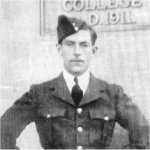 Photo of John Gordon Holmes– Graduated as a Wireless Air Gunner at the Final Bombing and Gunnery School in May 1941 and arrived in England in June. His Wellinton bomber of #419 Moose Squadron was returning from a mine laying mission to Lorient, France when it crashed in bad weather.