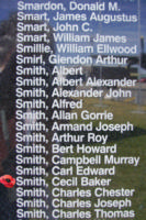 Memorial– Flight Sergeant Cecil Baker Smith is commemorated on the Bomber Command Memorial Wall in Nanton, AB … photo courtesy of Marg Liessens