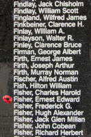 Memorial– Pilot Officer Ernest Edward Fisher is also commemorated on the Bomber Command Memorial Wall in Nanton, AB … photo courtesy of Marg Liessens