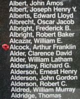 Memorial– Sergeant Arthur Franklin Alcock is also commemorated on the Bomber Command Memorial Wall in Nanton, AB … photo courtesy of Marg Liessens