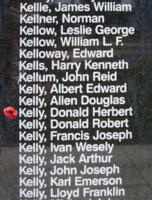 Memorial– Flight Sergeant Donald Herbert Kelly is also commemorated on the Bomber Command Memorial Wall in Nanton, AB … photo courtesy of Marg Liessens