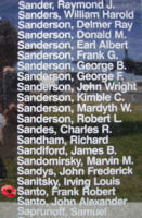 Memorial– Warrant Officer Class I Frank Robert Santo is also commemorated on the Bomber Command Memorial Wall in Nanton, AB … photo courtesy of Marg Liessens