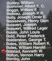 Memorial– Flying Officer Kenneth Wallace Bolstad is also commemorated on the Bomber Command Memorial Wall in Nanton, AB … photo courtesy of Marg Liessens