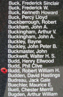 Memorial– Flying Officer Robert William Harry Budd is also commemorated on the Bomber Command Memorial Wall in Nanton, AB … photo courtesy of Marg Liessens