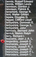 Memorial– Sergeant Joseph Ernest Desjardins is also commemorated on the Bomber Command Memorial Wall in Nanton, AB … photo courtesy of Marg Liessens