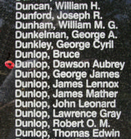 Memorial– Pilot Officer Dawson Aubrey Dunlop is also commemorated on the Bomber Command Memorial Wall in Nanton, AB … photo courtesy of Marg Liessens