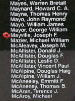 Memorial– Sergeant Joseph Fernard Mayville is also commemorated on the Bomber Command Memorial Wall in Nanton, AB … photo courtesy of Marg Liessens