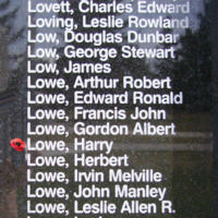 Memorial– Pilot Officer Harry Lowe is also commemorated on the Bomber Command Memorial Wall in Nanton, AB … photo courtesy of Marg Liessens