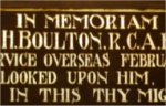 Memorial Plaque– The family of R.C.H. Boulton placed this window into St. George's Anglican Church, Stettler, Alberta.