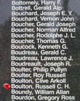 Memorial– Sergeant Russell Charles Heath Boulton is also commemorated on the Bomber Command Memorial Wall in Nanton, AB … photo courtesy of Marg Liessens