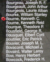 Memorial– Flight Sergeant Kenneth Charles George Bourne is also commemorated on the Bomber Command Memorial Wall in Nanton, AB … photo courtesy of Marg Liessens