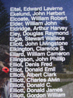 Memorial– Warrant Officer Class II Donald Emil Elliot is also commemorated on the Bomber Command Memorial Wall in Nanton, AB … photo courtesy of Marg Liessens