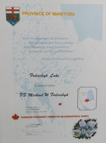Certificate– Manitoba named lake after Michael