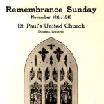 Roll of Honour– St. Paul's United Church, Dundas, Ontario.  Their Second World War Roll of Honour was distributed at a Remembrance Sunday memorial event in November 1946.