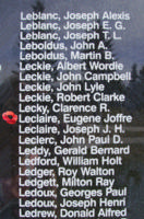 Memorial– Sub-Lieutenant (A) Eugene Joffre Kenneth Le Claire as commemorated on the Bomber Command Memorial Wall in Nanton, AB … photo courtesy of Marg Liessens
