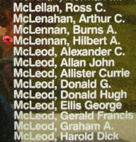 Memorial– Sergeant Hilbert Alexander McLennan is also commemorated on the Bomber Command Memorial Wall in Nanton, AB … photo courtesy of Marg Liessens