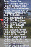 Memorial– Sergeant Ellis Hamilton Park is commemorated on the Bomber Command Memorial Wall in Nanton, AB … photo courtesy of Marg Liessens