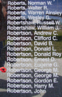 Memorial– Sergeant George MacKlin Lascelles Robertson is also commemorated on the Bomber Command Memorial Wall in Nanton, AB … photo courtesy of Marg Liessens