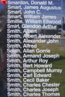 Memorial– Warrant Officer Donald Martin Smardon is commemorated on the Bomber Command Memorial Wall in Nanton, AB … photo courtesy of Marg Liessens