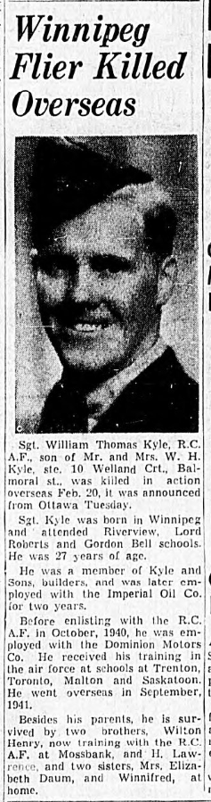 Newspaper clipping– In memory of the men and women memorialized on the pages of the Winnipeg Evening Tribune. Submitted for the project, Operation: Picture Me.