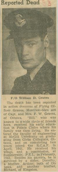 Press Clipping– Flying Officer William Donald Graves obit Montreal Star Jul 3 1943 courtesy McGill University archives