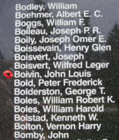 Memorial– Flight Sergeant John Louis Boivin is also commemorated on the Bomber Command Memorial Wall in Nanton, AB … photo courtesy of Marg Liessens