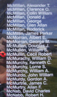 Memorial– Flight Sergeant Cecil Robert McMullin is also commemorated on the Bomber Command Memorial Wall in Nanton, AB … photo courtesy of Marg Liessens