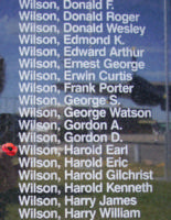 Memorial– Flying Officer Harold Earl Wilson is also commemorated on the Bomber Command Memorial Wall in Nanton, AB … photo courtesy of Marg Liessens