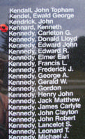 Memorial– Sergeant Kenneth Kennard is also commemorated on the Bomber Command Memorial Wall in Nanton, AB … photo courtesy of Marg Liessens