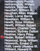 Memorial– Flight Sergeant Robert William Hexter is also commemorated on the Bomber Command Memorial Wall in Nanton, AB … photo courtesy of Marg Liessens