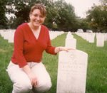 Grave site– Great-niece visiting James's burial site, Long Island National Cemetery, New York, USA.
