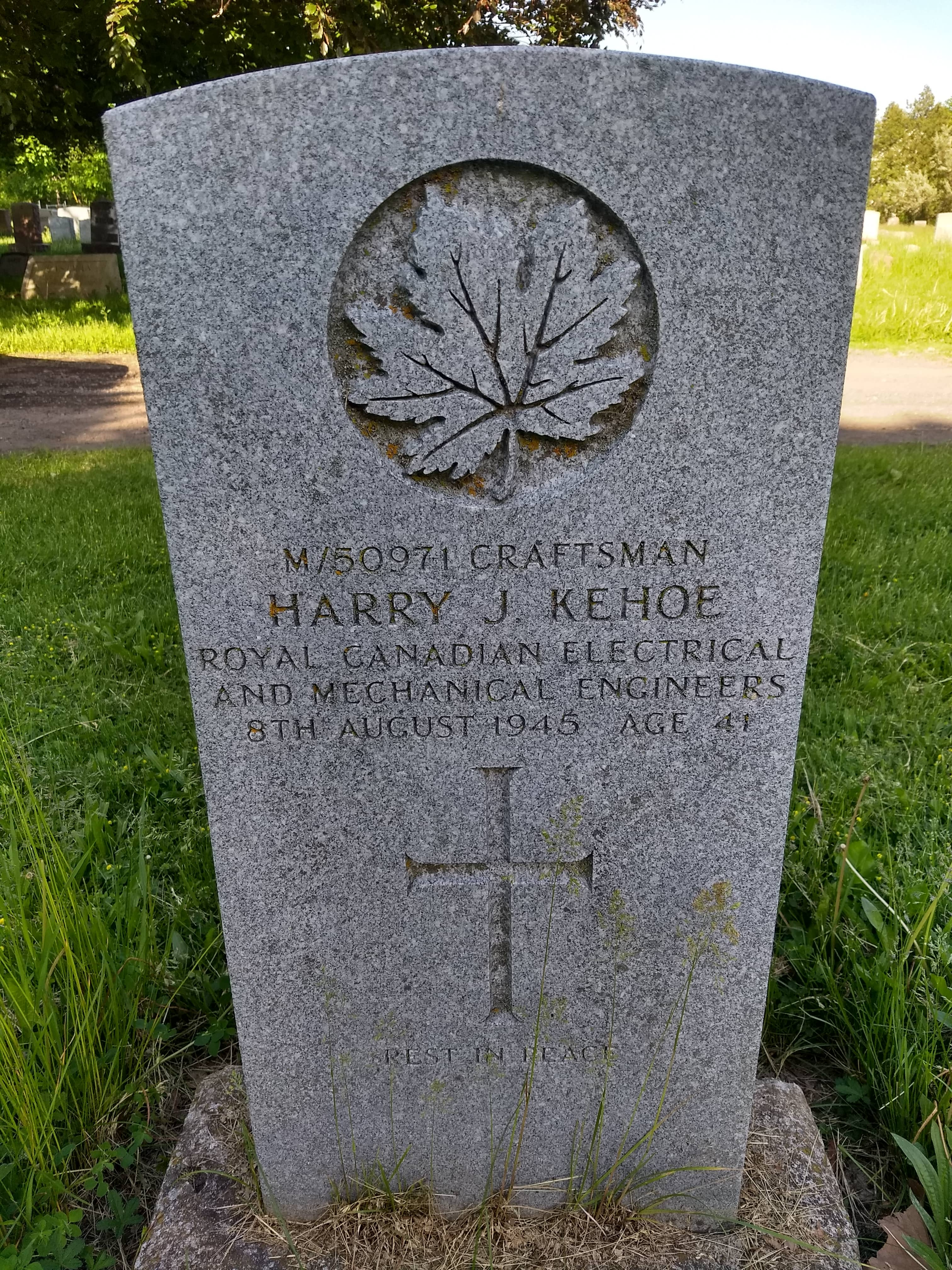 Grave marker– The final resting place of Harry Kehoe